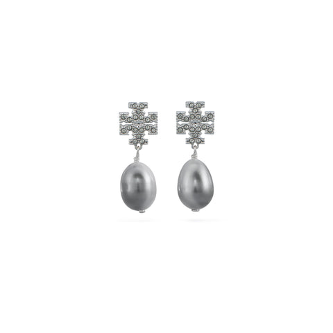 KIRA PAVE PEARL DROP EARRING - SILVER