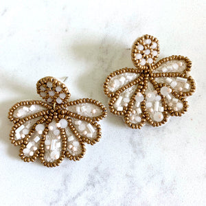 WHITE BEADED FAN EARRINGS