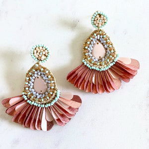 BEADED TEARDROP FAN EARRINGS