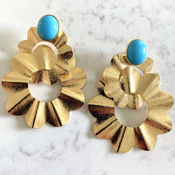 TURQUOISE DOUBLE SCALLOPED EARRINGS