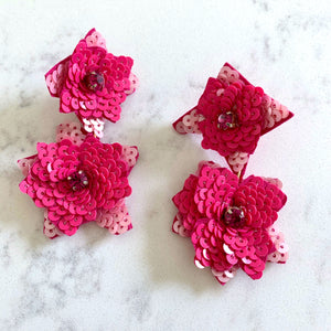 SEQUIN FLORAL DROP EARRINGS