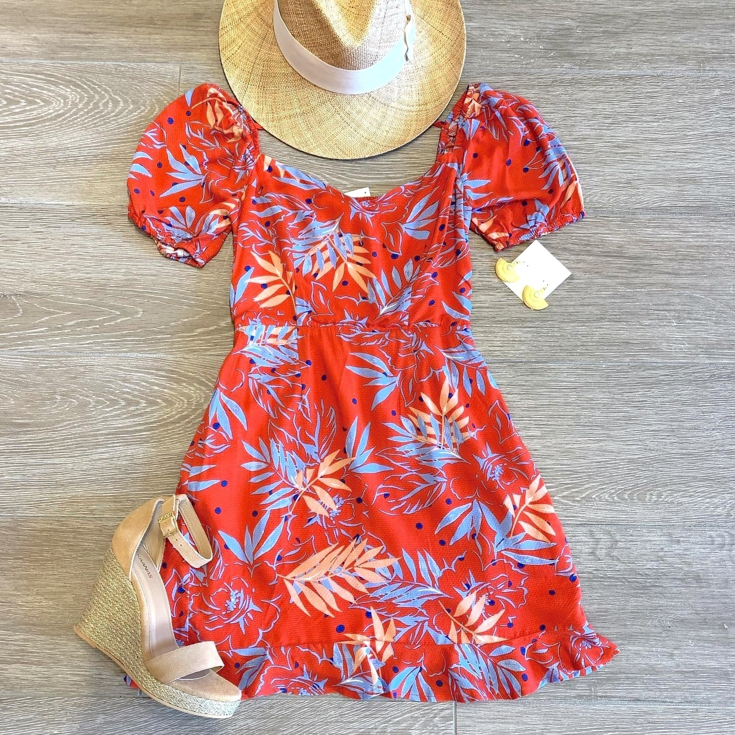 PALM PRINT MINI DRESS