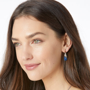 NEPTUNE'S RINGS BRAZIL BLUE QUARTZ TEARDROP EARRINGS