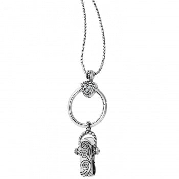 HEART CHARM BADGE CLIP NECKLACE