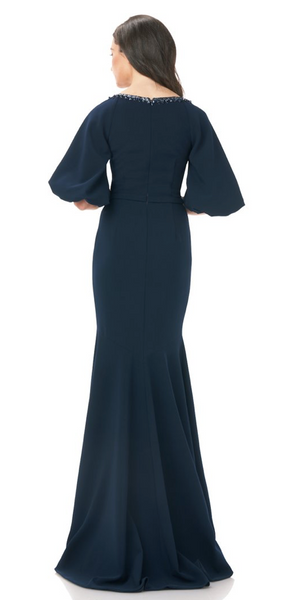 CREPE FITTED GOWN - MIDNIGHT