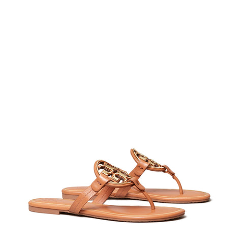 MILLER METAL - LOGO SANDAL LEATHER - TAN / ROSE GOLD