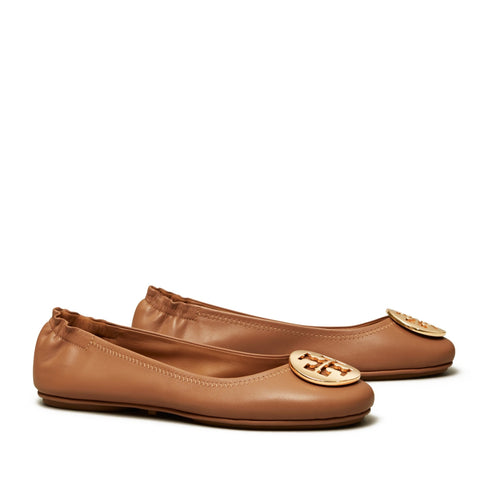 MINNIE TRAVEL BALLET FLAT LEATHER - TAN