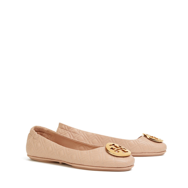 MINNIE TRAVEL BALLET FLAT QUILTED LEATHER - GOAN SAND / GOLD
