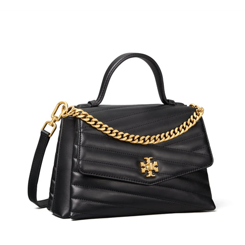 KIRA CHEVRON TOP-HANDLE SATCHEL - BLACK