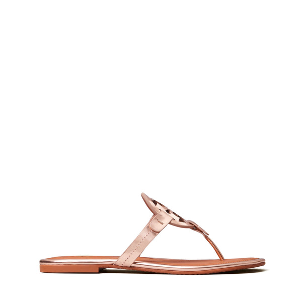 MILLER SANDAL MIRROR METALLIC LEATHER - ROSE GOLD / TAN
