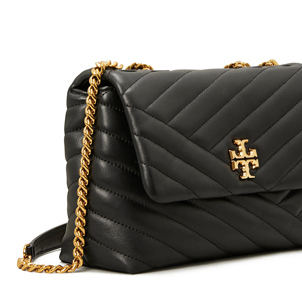 KIRA CHEVRON SMALL CONVERTIBLE SHOULDER BAG - BLACK