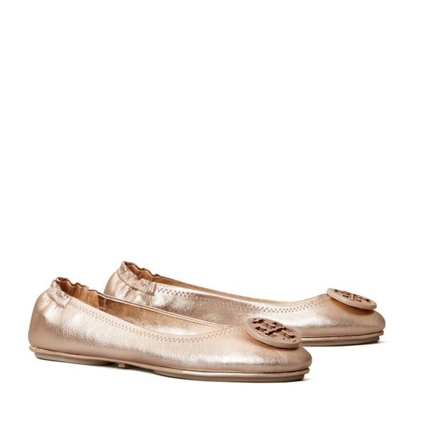 MINNIE TRAVEL BALLET FLAT, METALLIC LEATHER - ROSE GOLD