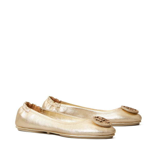MINNIE TRAVEL BALLET FLAT, METALLIC LEATHER - SPARK GOLD