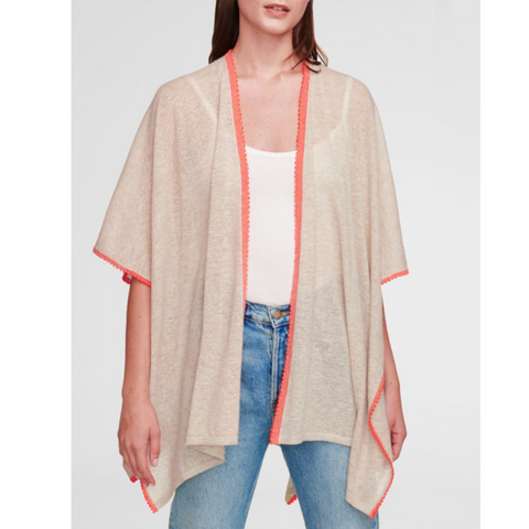 PICO TRIM THROW ON PONCHO - HEATHER SAND / NEON RED