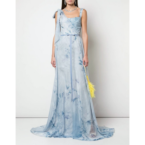 ASYMMETRIC DRAPE PRINT CHIFFON LACE GOWN - LIGHT BLUE