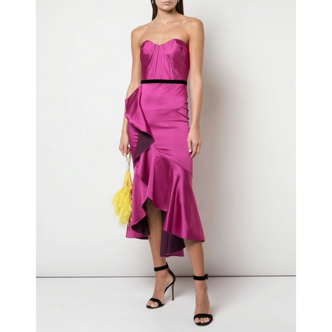 DRAPED HI LO RUFFLE COCKTAIL DRESS - FUCHSIA