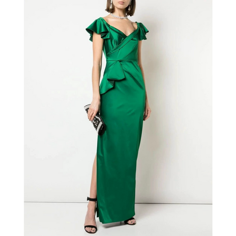 OFF THE SHOULDER STRAPLESS SATIN DRAPED GOWN - EMERALD