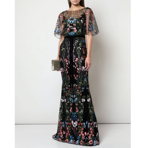 SEQUIN EMBROIDERED GOWN - BLACK