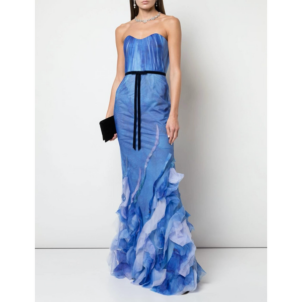 STRAPLESS PRINTED TEXTURE FIT FLARE GOWN - BLUE