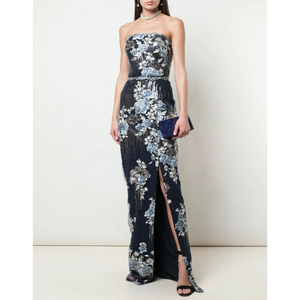 STRAPLESS SEQUIN EMBROIDERED GOWN - NAVY