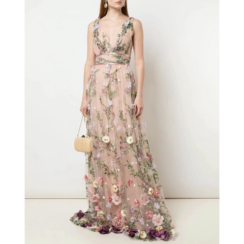 V-NECK 3D FLORAL EMBROIDERED GOWN - BLUSH