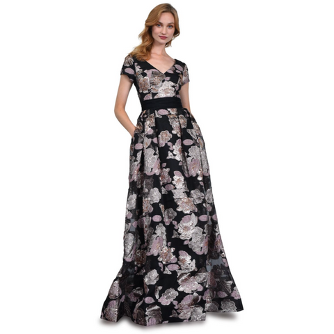 FLORAL BEADED BALLGOWN - BLACK MULTI