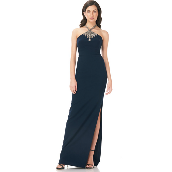 HALTER CREPE GOWN - MIDNIGHT