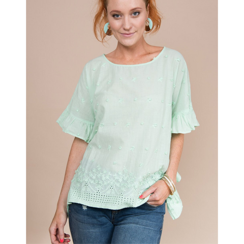 EYLELET TOP - MINT