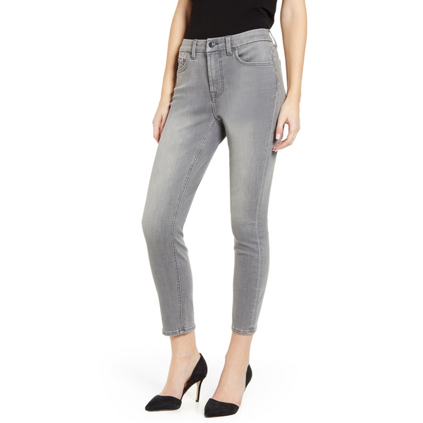 HIGH WAIST SKINNY ANKLE STRETCH JEANS - GREY
