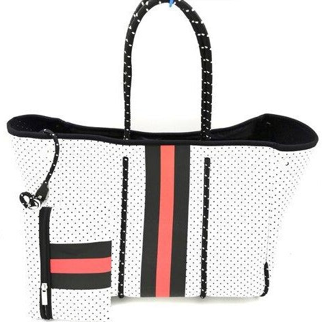 WHITE & RED STRIPE TOTE