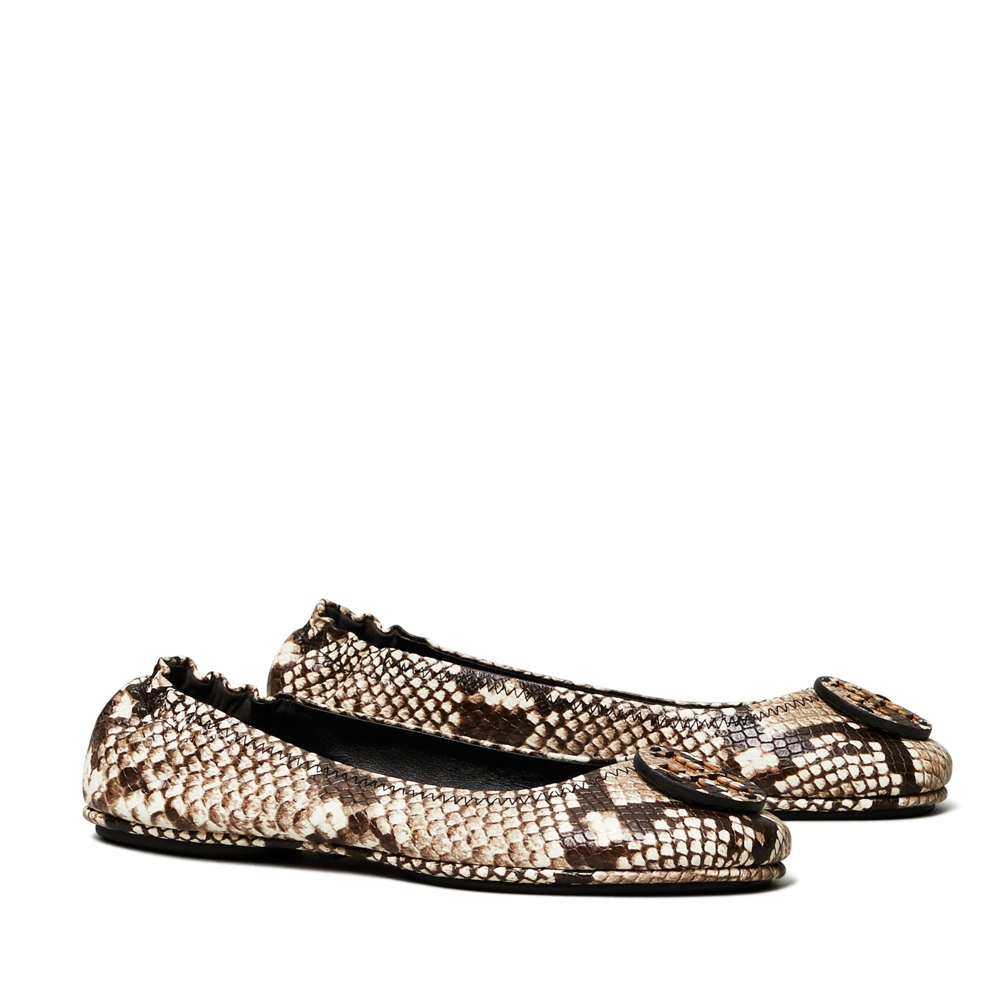 MINNIE TRAVEL BALLET FLAT EMBOSSED LEATHER - WARM ROCCIA