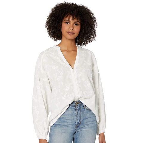 ACACIA EMBROIDERED COTTON PEASANT TOP