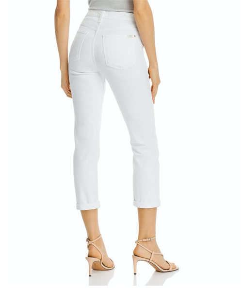 HIGH WAIST STRAIGHT CROP & ROLL STRETCH JEANS - WHITE