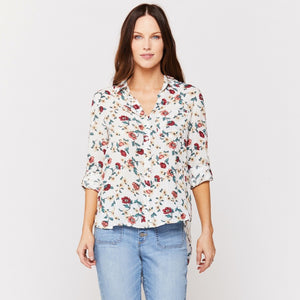 FLORAL BUTTON DOWN TOP