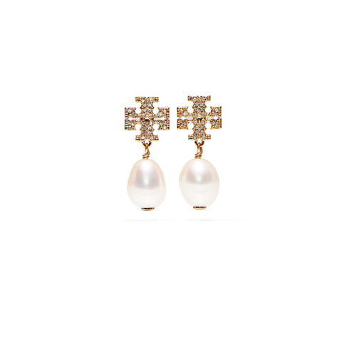 KIRA PAVE PEARL DROP EARRING - GOLD