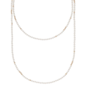 "41"" NECKLACE WORTHY PATTERN 4MM BEAD - PEARL"