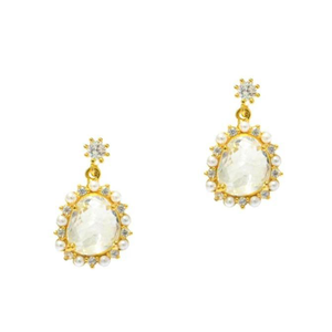 CLEAR GLASS DROP EARRINGS WITH PEARL ACCENTS