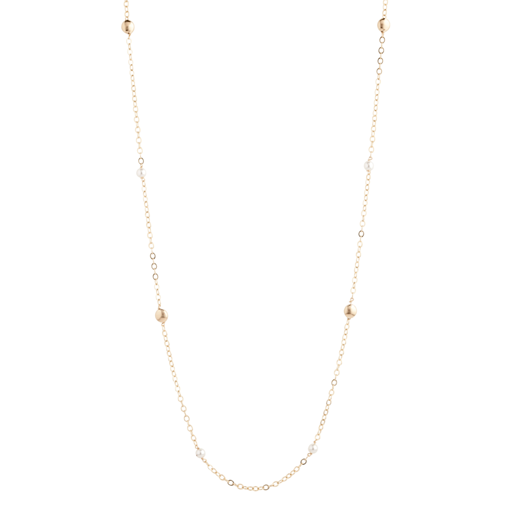 "41"" NECKLACE HONESTY GOLD - PEARL"