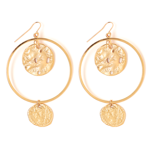 LARGE COIN RELIC EARRING