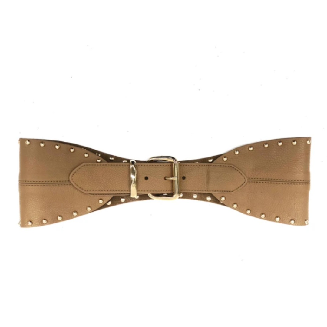 PIPER GOLD STUD BELT - VACCHETA