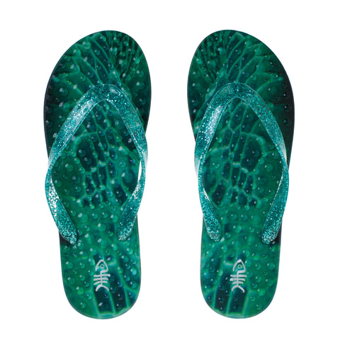 Emerald Flip Flops with Green Glitter Straps