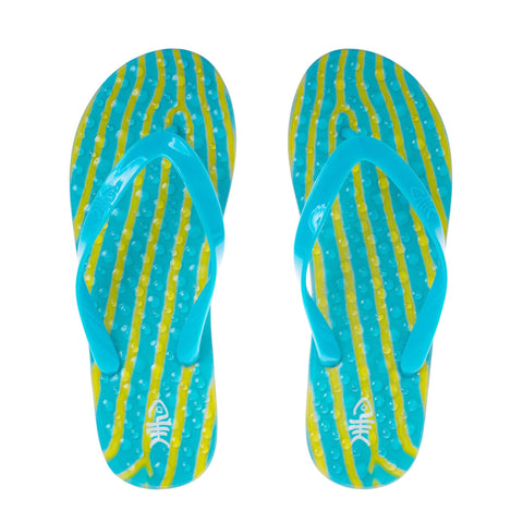 Ripples Flip Flops with Blue Straps
