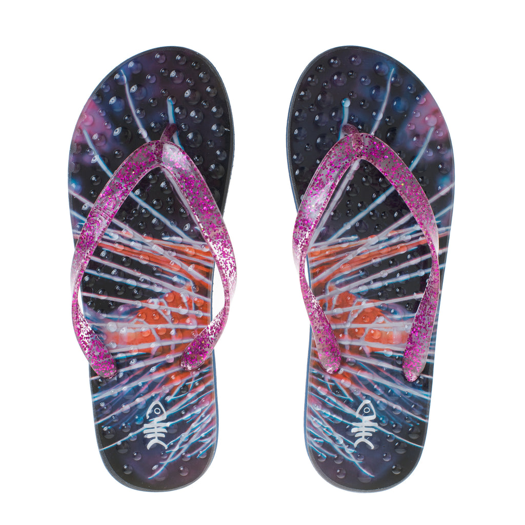 Sparkle Flip Flops with Purple Glitter Straps