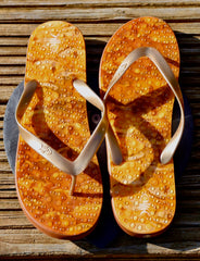 Amber Flip Flops with Gold straps