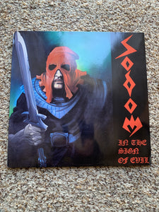Sodom ‎– In The Sign Of Evil (1985 GERMAN PRESS / VINYL CLEAN/JACKET IS A TAD WAVY WITH A SCUFFED CORNER)