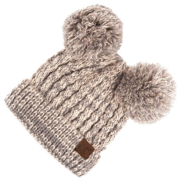 Double Pom Beanie in Light Gray