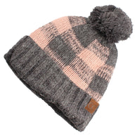 Check Beanie in Light Pink
