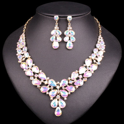 Fashion Crystal Bridal Jewelry Sets Costume Accessories Wedding Necklace Earring Set Party
