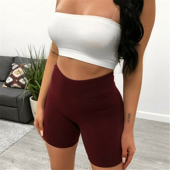 High Waist Skinny Stretch Biker Shorts