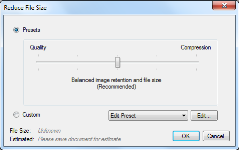 How to reduce pdf file size using bluebeam revu bohdee in the edit menu you will be able to manually adjust all of the various compression settings and see how this will affect your output file ccuart Images